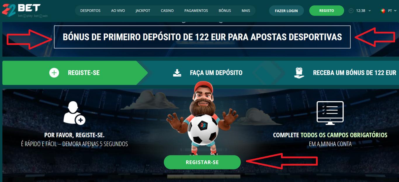 Início do jogo em BET22 Portugal